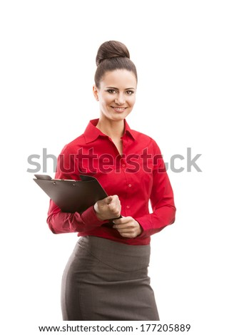 Beautiful business woman with folder isolated over white background.