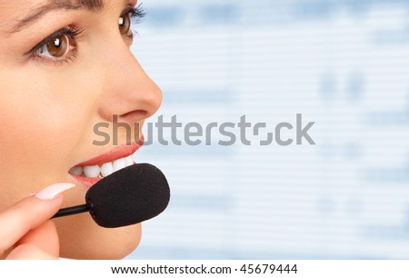 Beautiful  business woman with headset. - stock photo