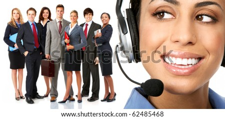 Beautiful  business woman with headset and business people - stock photo