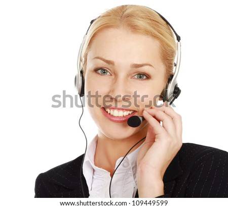Beautiful business woman with headset. Call center