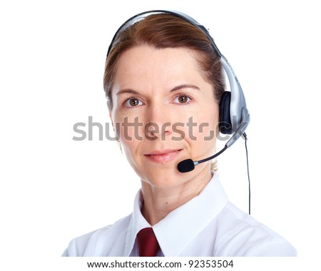 Beautiful business woman with headset. Call center. Customer support. Help desk.
