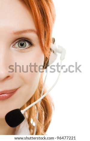 Beautiful business woman with headset on a white background. - stock photo