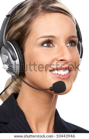 Beautiful  business woman with headset. Over white background