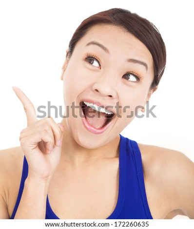 Beautiful business woman with idea pose hand - stock photo