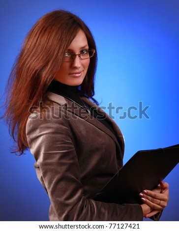 beautiful business-woman with organizer - stock photo