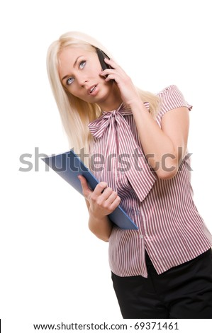 Beautiful business woman with telephone and folder isolated on white