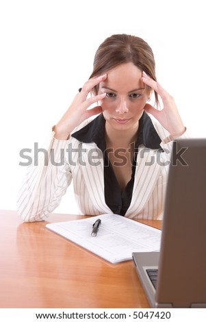 Beautiful business woman worried and thinking about the problems - over a white background
