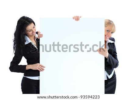 Beautiful business women with a white banner. Isolated on a white background. - stock photo