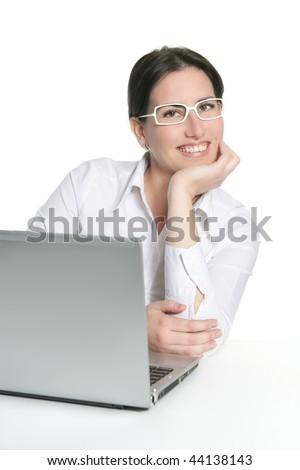 Beautiful businesswoman brunette portrait isolated on white - stock photo