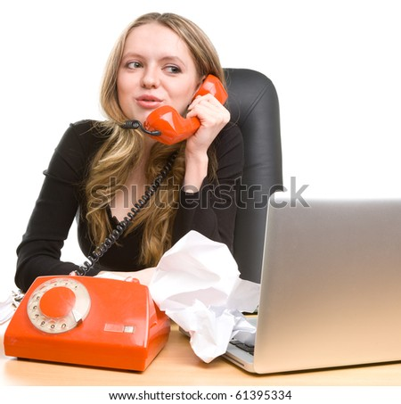 Beautiful businesswoman calling on phone and smiling - stock photo