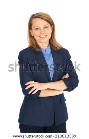Beautiful businesswoman doing different expressions in different sets of clothes: arms crossed - stock photo