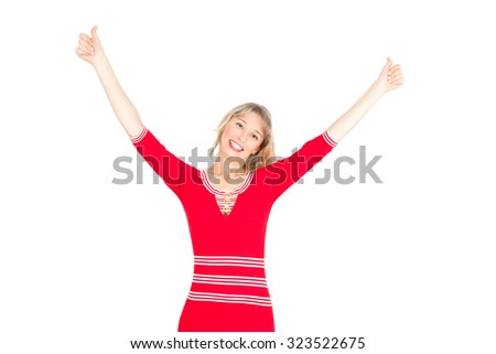 Beautiful businesswoman doing different expressions in different sets of clothes: arms raised - stock photo