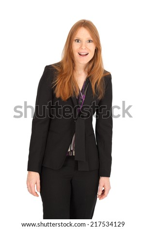 Beautiful businesswoman doing different expressions in different sets of clothes: surprise - stock photo
