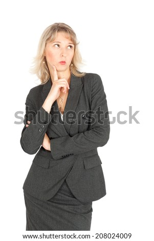 Beautiful businesswoman doing different expressions in different sets of clothes: thinking