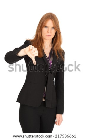Beautiful businesswoman doing different expressions in different sets of clothes: thumbs down - stock photo