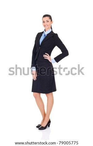 beautiful businesswoman in business suit, on isolated background - stock photo
