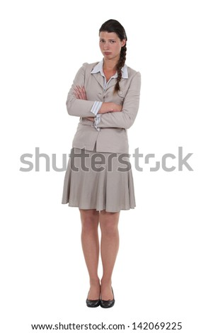 beautiful businesswoman in low spirits