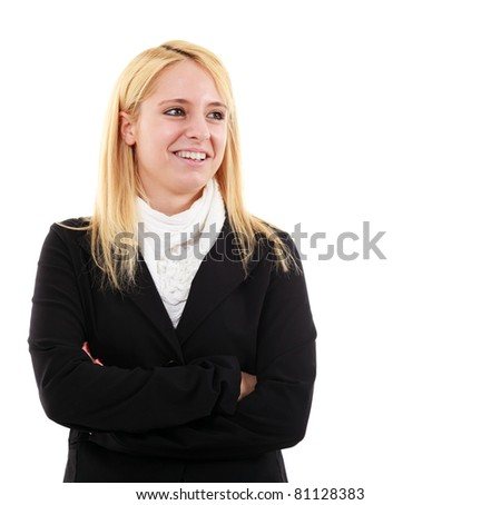 Beautiful businesswoman isolated on white - stock photo