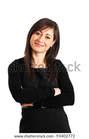 Beautiful businesswoman isolated on white