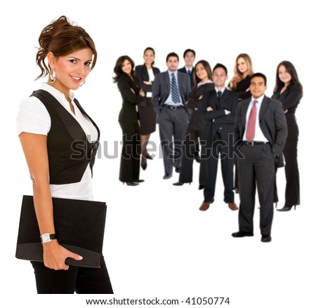 Beautiful businesswoman leading her team isolated on white - stock photo