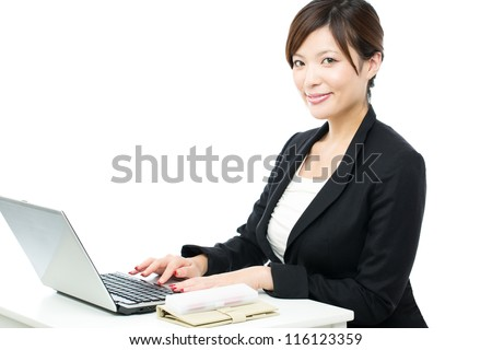 Beautiful businesswoman on white background. Portrait of asian.