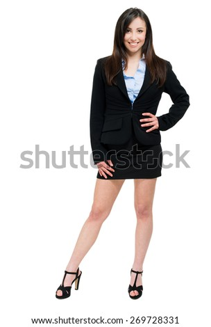 Beautiful businesswoman portrait full length - stock photo
