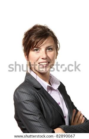 beautiful businesswoman portrait, isolated on white background - stock photo