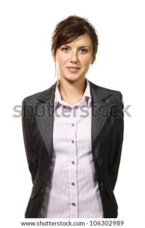 beautiful businesswoman portrait, white background - stock photo