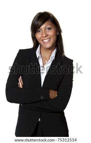 beautiful businesswoman portrait, white background