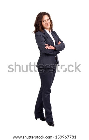 Beautiful businesswoman posing isolated in white