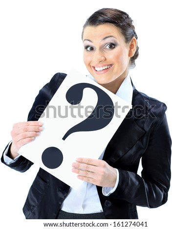 Beautiful businesswoman requests with the poster of the question. - stock photo