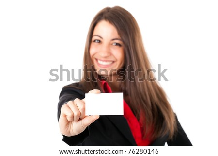 Beautiful businesswoman showing a blank greeting card - stock photo