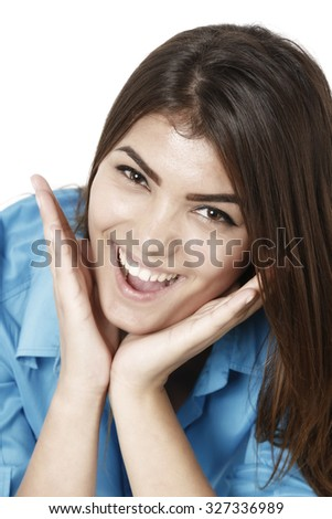 Beautiful  businesswoman smiling with open mouth and open palms - stock photo