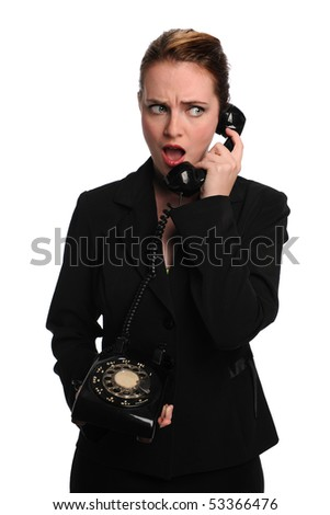 Beautiful businesswoman using vintage telephone isolated over white background