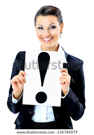 Beautiful businesswoman with a sign exclamation mark. Isolated on a white background. - stock photo