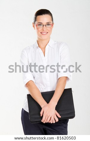 beautiful businesswoman with briefcase - stock photo