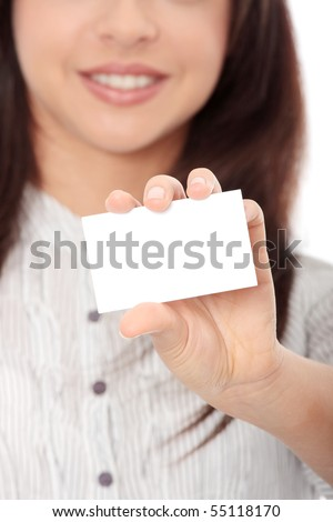 Beautiful businesswoman with business card, isolated on white background - stock photo