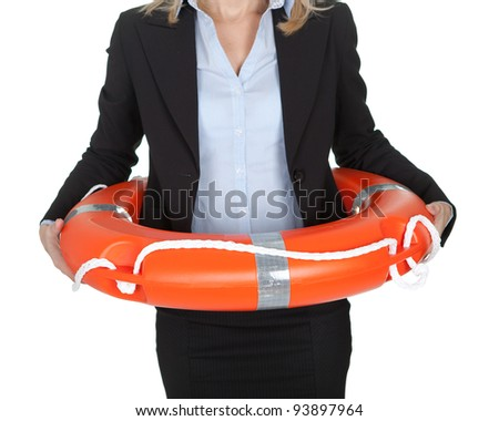 Beautiful businesswoman with life buoy. Isolated on white - stock photo