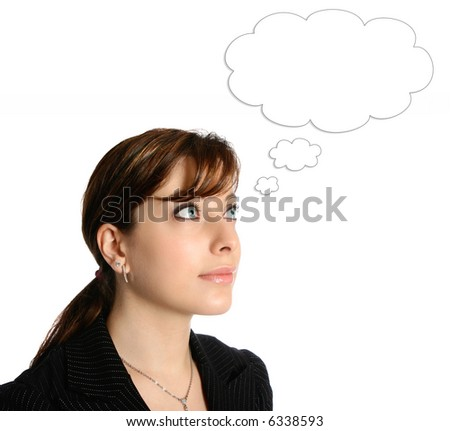 Beautiful businesswoman with thoughts bubble, isolated on white