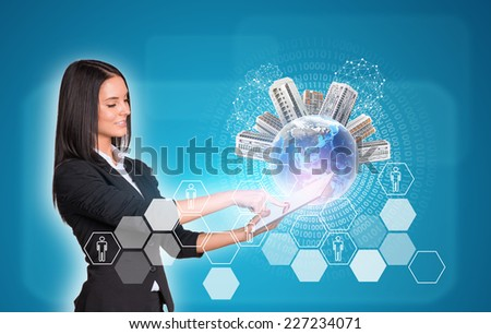 Beautiful businesswomen in suit using digital tablet. Earth with buildings. Hexagons and figures as backdrop. Element of this image furnished by NASA - stock photo