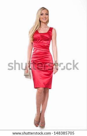 Beautiful Busyness Woman Blonde Fashion Model in red dress isolated on white  - stock photo