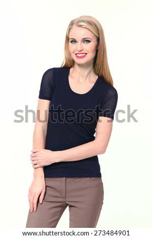 Beautiful Busyness Woman  Fashion Model in black tshirt