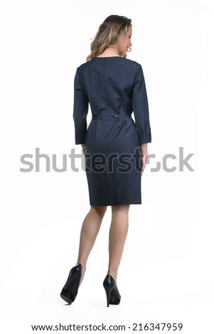 Beautiful Busyness Woman Fashion Model in office suit back view - stock photo