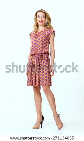 Beautiful Busyness Woman  Fashion Model in summer dress - stock photo