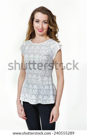 Beautiful Busyness Woman  Fashion Model in white sleeveless blouse - stock photo