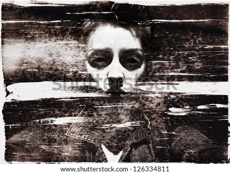 Beautiful but creepy woman's black eyed face, showing negative emotion, in grungy vintage style - stock photo