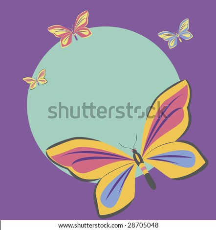 Beautiful butterflies on a colorful background. Green circle in the middle creates copy space.