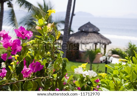 Beautiful Cabana surrounded by flowers and ocean - stock photo