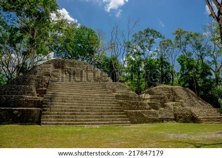 beautiful cahal pech maya ruins archaelogical site cayo belize - stock photo