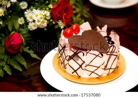 Beautiful Cake Decorated Heart Shape Chocolate Stock Photo Royalty